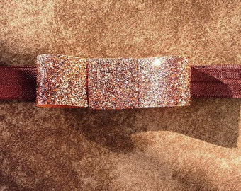 Dainty Brown Glitter Bow