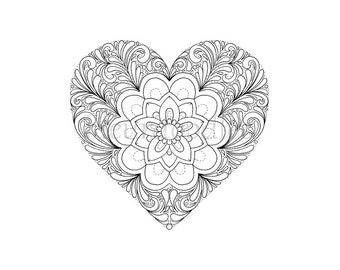 Heart coloring page | Etsy