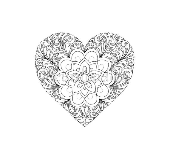 coloring page heart printable download love colouring pages floral coloring books adult coloring hearts mandala mothers day gift from fleurdoodles - Love Coloring Pages For Adults