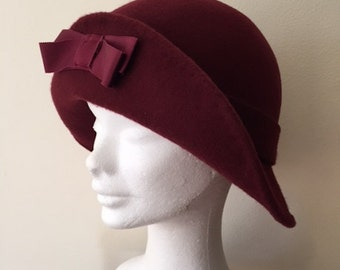 1920s Style Wine Felt Cloche Hat, Winter Cloche Hat, Retro Cloche, Vintage Inspired Hat, Flapper Hat, Art Deco Hat