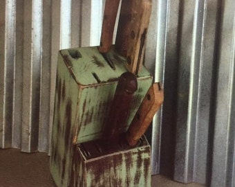 Upcycled Hand Painted Knife Block - Distressed Shabby Chic Knives Storage