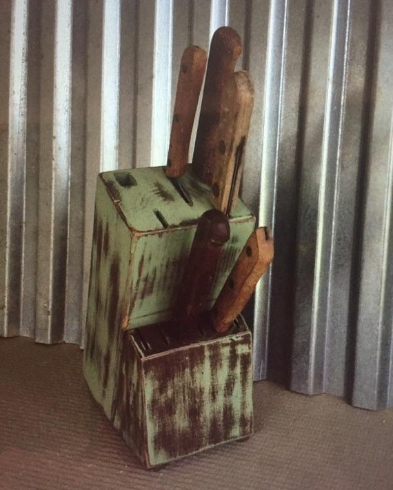 Painted Knife Block: Upcycled Hand Painted Knife Block Distressed Shabby Chic