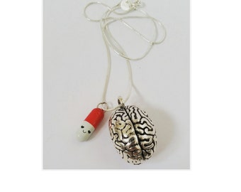 Silver Brain and Happy Pill pendant necklaces Neurology Medicine (different colours available)