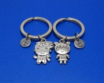 Couple Keychain, Valentine Gift, Couple Gift, Best Friend Keychain, Best Friend Gift, Friendship, Boy, Girl, Personalized, Customized