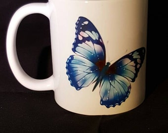 Beautiful butterfly mug, pretty butterflies. multicoloured butterfly mug, butterfies cup, butterfly mug,