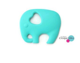 Teether / Silicon toy / teether elephant / Teething toy - aqua