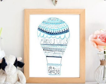 Custom Birth Baby Announcement Hot Air Balloon  Watercolor Indie Illustration