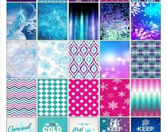 Printable Snow Purples & Blues
