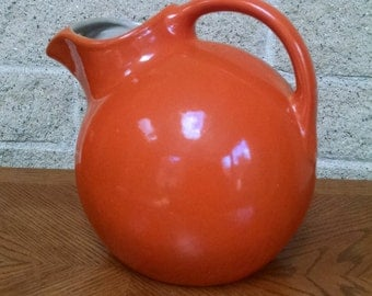 Rum Rill Red Wing Orange Ball Pitcher 547 - Vintage 1930s - 1940s