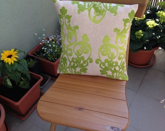 Decorative Throw Pillow, Green Ornaments, Cushion, Throw Pillow, Couch Bed Pillow