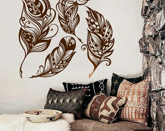 Wall Vinyl Decal Feathers Dream Catcher Symbolic Snare Abstract Modern Ethnic Ornaments Home Art Decor (#1159dz)