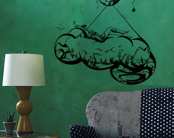 Wall Vinyl Decal Moon Stars Night Sky Bed Made of Clouds Romantic Sketch Astronomy Modern Home Decor (#1264de)