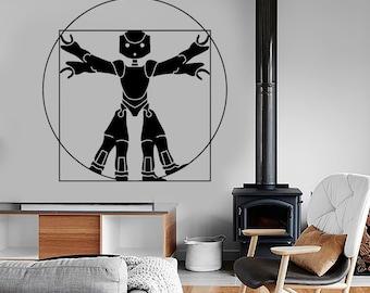 Wall Vinyl Decal Funny Leonardo Da Vinci Virtuvian Man Robot Decor 1310dz