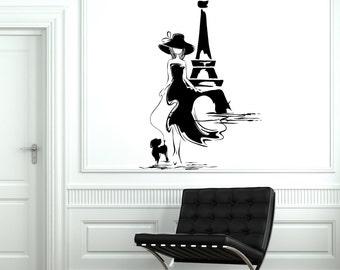 Wall Decal Paris France Eiffel Tower Sexy Girl With Dog Vinyl Decal Sticker 1827dz