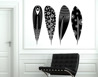 Wall Decal Birds Feather Cool Tribal Ornament Mural Vinyl Decal Sticker 1871dz
