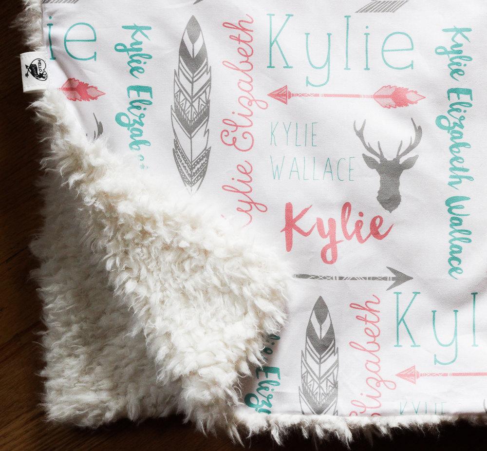 Monogrammed Baby Blanket Llama Minky Stroller Blanket Double