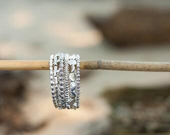 Beaded Wrap Bracelet, Silver Plated Metal Beads Including Crosses, Beaded Memory Wire Bracelet