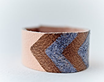 Chevron Bracelet, Boho Cuff Bracelet, Boho Kids Jewelry, Peach Bracelet, Leather Bracelet, Childrens Jewelry, Birthday Gift for Daughter