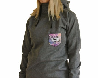 Charcoal Grey Womens Hoodie with Peach Floral Pocket Girls Hoody Tall Long Snowboard Ski Top