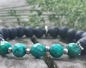 Turquoise bracelet, natural turquoise, beaded bracelet