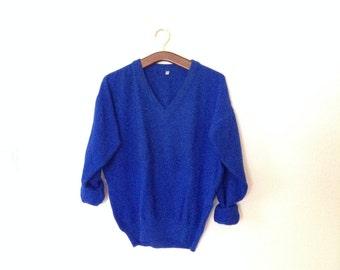 SALE Vintage Pullover Peacock Blue V-Neck size M