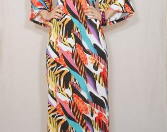 African print dress Long dress Kimono maxi dress Women