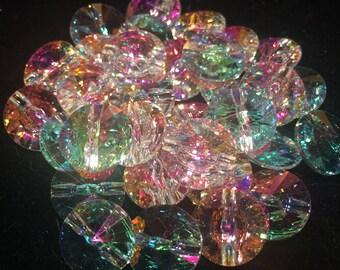 Swarovski Rivoli Button, 14mm, Crystal Transmission, 3015, 1 Piece, Austrian Crystal