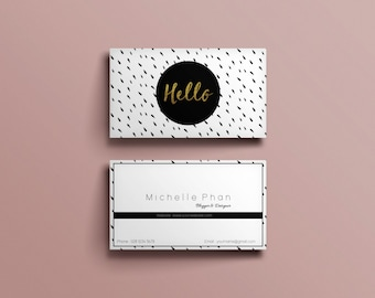 Business card template ( black and white ink dot )/ modern business card design / printable business card / DIY business card
