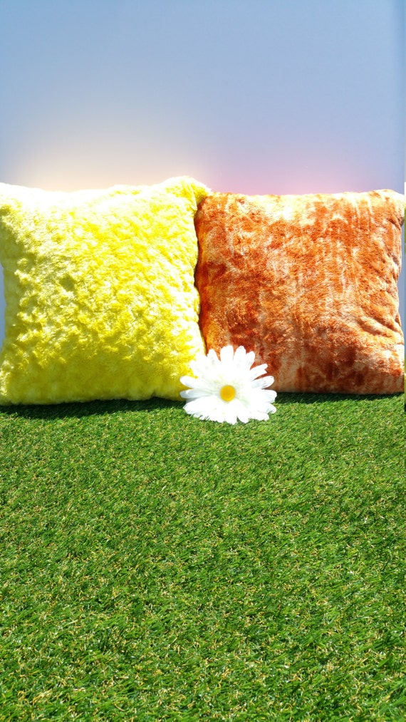 Plush Pillow Covers Sunny Yellow Orange Navy Blue Beige
