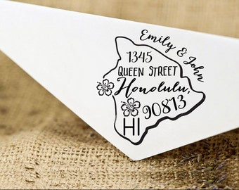 Hawaii Address Stamp Etsy