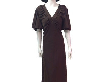 Vintage 70s butterfly sleeve maxi dress chocolate from peace vintage