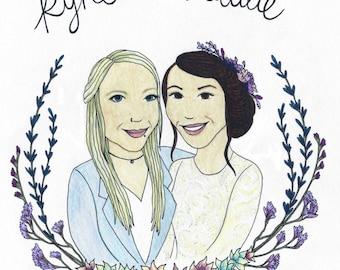 Wedding Couple Illustration - Custom Invite/Stationery