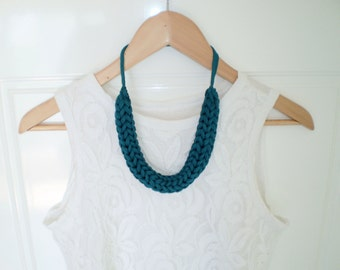 knitted necklace green necklace knit necklace statement necklace dark green necklace blue green chunky necklace knit jewelry free shipping