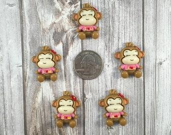 Monkey flatback - Cute little monkey - I love you - 5pc lot - Pretty monkey - Monkey craft DIY - Hair bow DIY - How to make - Ready to ship