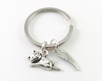 Pet memorial keychain, Cat memorial keychain, loss of pet keyring, pet sympathy, kitty memorial charm, kitten charm keychain, silver charm