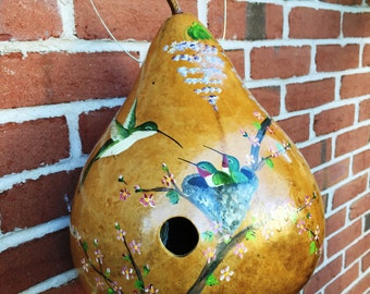 Handpainted Gourd Birdhouse with Hummingbird and Nest