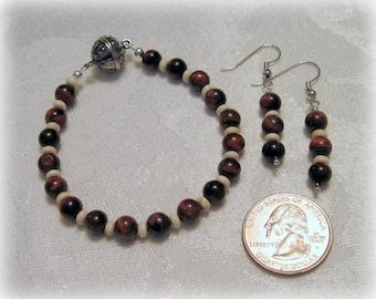 Brown Catseye Bracelet & Earring Set, Beaded Bracelet and Earrings, Gift for Her