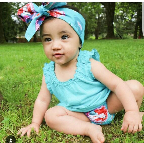 Little Mermaid - baby skirt -toddler skirt- Headwrap-Bloomers