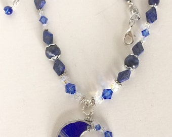 Blue Moon,With Silver and Lapis, and Swarovski Crystals