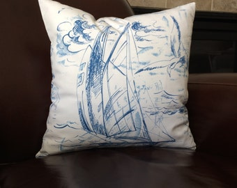 Nautical Pillow, Blue White Sail Boat Sailing Throw Pillow Cushion Cover Decorative Zippered Coastal Pillows Boating Decor Accent Pillow
