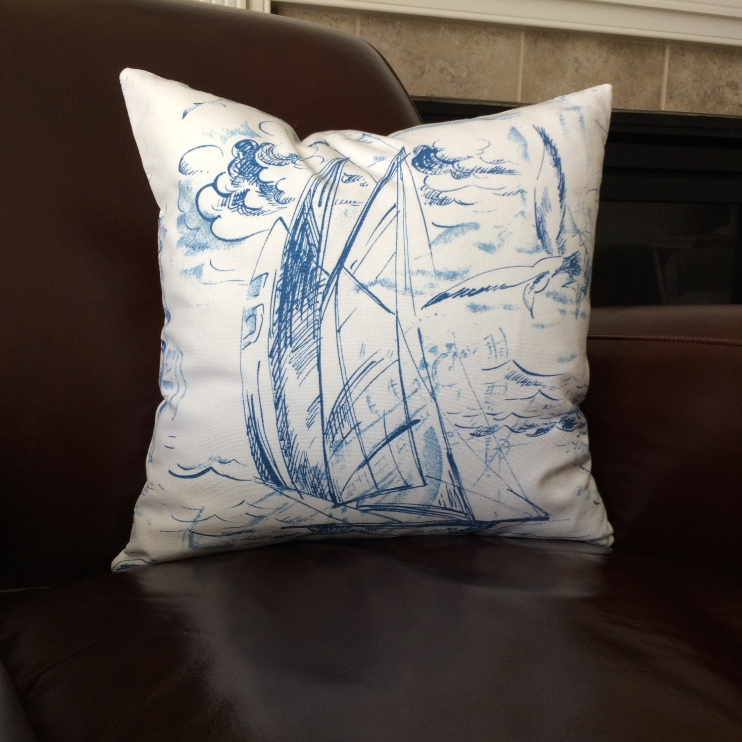 Nautical Pillow Blue White Sail Boat Sailing Throw Pillow