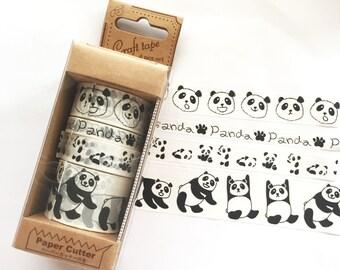 Panda Bear washi tape set - Japanese Washi Paper Masking Tape, Adhesive Tape, Scrapbooking, Collage, Deco, Wrapping, Unique Art Supply,