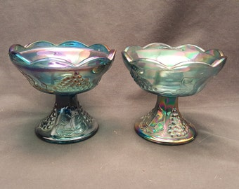 Set of 2 Vintage Carnival Glass Candle Holders Indiana Glass Harvest 1970s