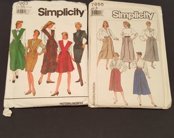 Set of 2 Vintage Simplicity Sewing Patterns Women's Dresses and Skirts Clothing 1990s 1980s 1992 1986