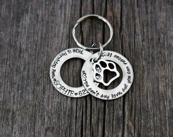 You cant buy love but you can rescue it / hand stamped washer style dog tag / dog tags for dogs / rescue dog