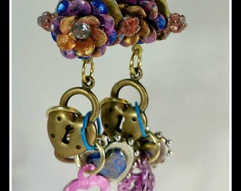 Earrings with Flowers, Hearts, Locks and Key- All Brass Hand painted