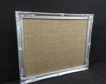 Glitzy SILVER / GoLD BULLETIN BOARD // Ornate Notice Board // Framed Pin Board // Burlap Message Board // Jute Hessian Vision Board