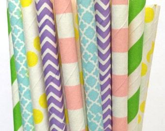 2.85 US Shipping -Pastel Paper Straws  - Easter paper straws - Cake Pop Sticks - Drinking Straws