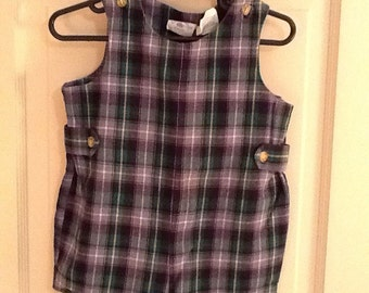 18 Month, Vintage Classic Baby Clothes, Navy and Green Plaid Jon Jon Shortall