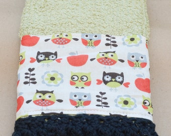 Green Owl Kitchen Towel with Crochet Edging